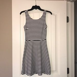 American Eagle Striped Skater Dress with Cutout